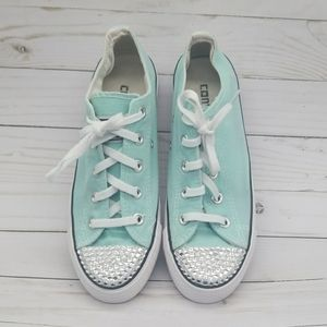 Converse pastel green with bling